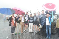 7 wet at finish ceremony